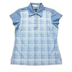 Adidas Light Blue Plaid Climacool Golf Polo